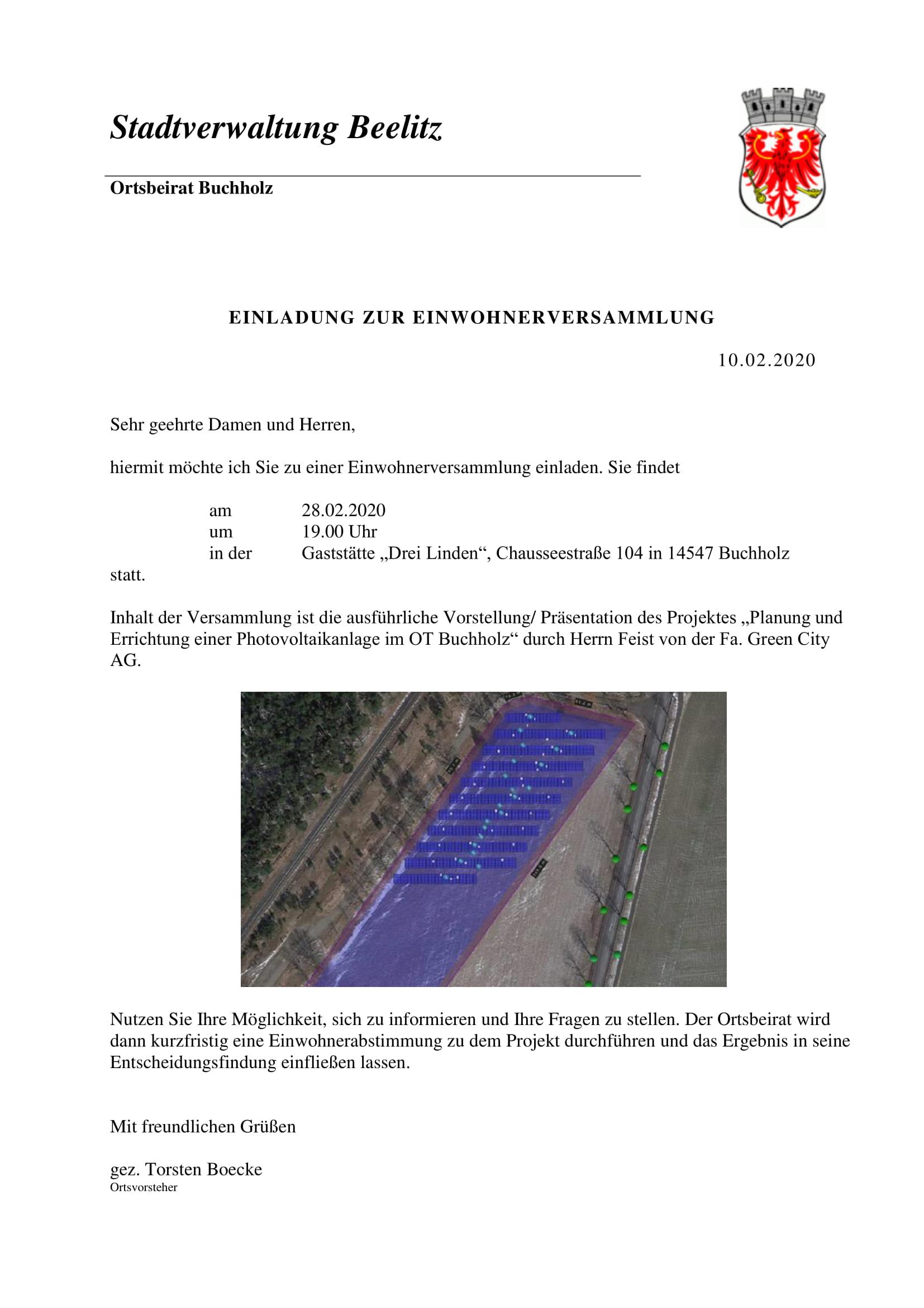 Einladung zur Einwohnerversammlung am 28.2.2020